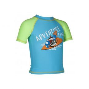 RASHGUARD ARENA Kids Boy UV S/S Tee Sea Blue/Shiny Green